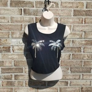Victoria Secret Pink 》 Black Sequined Palm Tree